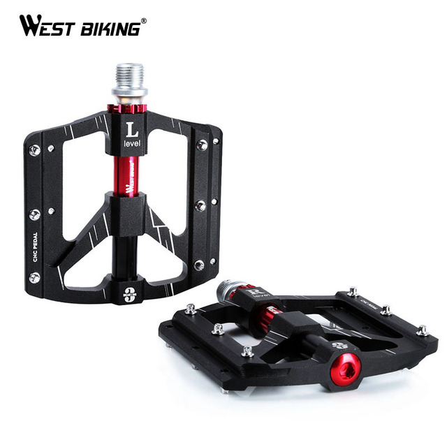 WEST BIKING 3 Bearings Bicycle Pedals Ultralight Anti slip CNC Road MTB Bike Pedal Cycling Sealed Bearing Bike Pedals