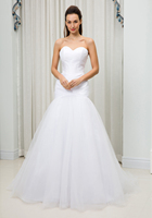 C V Pleat Simple Elegant Mermaid Wedding Dress Vestido De Noiva Sweatheart Floor Length Plus Size