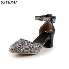 QZYERAI New European spring style women's shoes high heels chunky heels sandals women's shoes