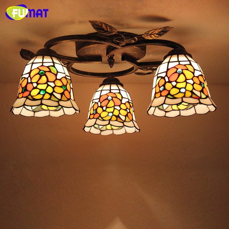 FUMAT Glass Art Lamp European Style Creative Round Dragonfly Rose Ceiling Lamps Stained Glass Light Fixtures For Living Room
