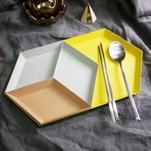 1pc Polygon Desktop Combination Storage Tray Jewelry Display Nordic Geometric Diamond Metal Snacks Tea Fruit Plate