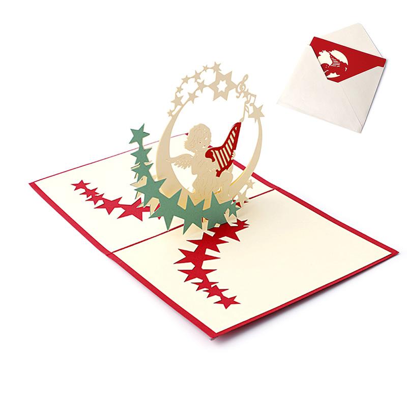 d popup de tarjetas de felicitacin de vacaciones msica ngel estrellas regalo de accin