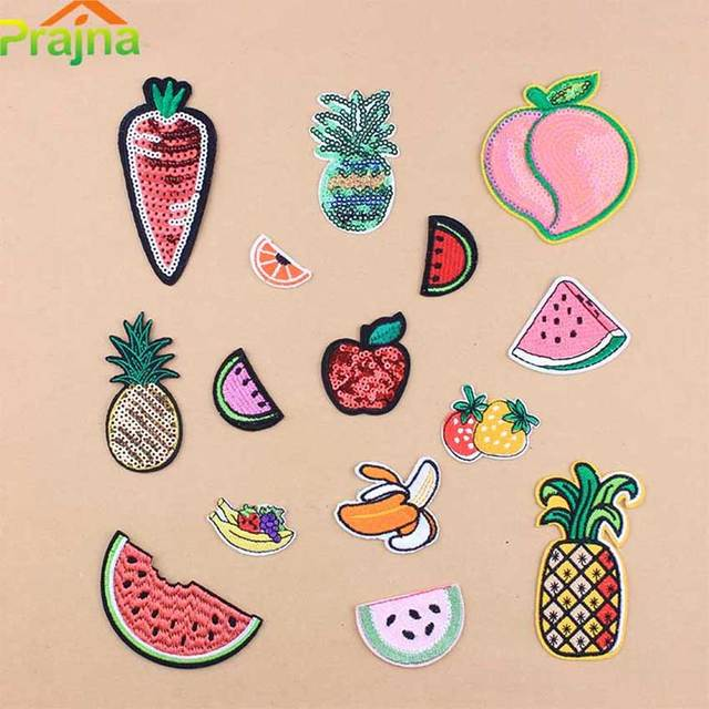 1pcs Cheap Embroidery Patches For Clothes Cute Orange Pineapple