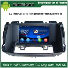6,2 zoll Android Auto GPS-Navigation für Renault Koleos 2009-2014 Auto Video Player WiFi Bluetooth Spiegel-link