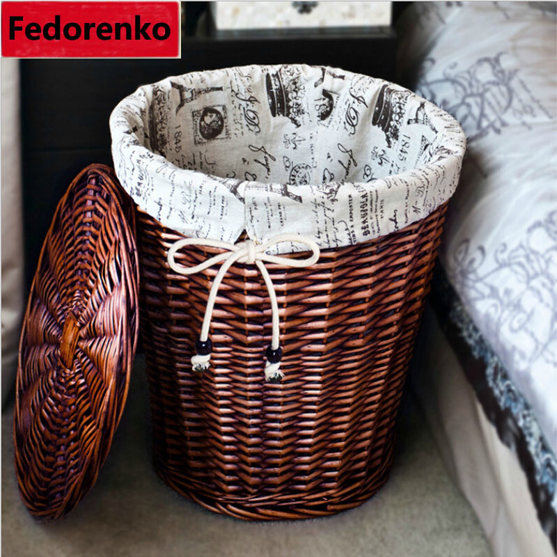 pastoral square large wicker storage baskets with lids decorative laundry basket boxes clothing organizer panier de - Decorative Boxes With Lids