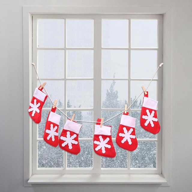1m lucky christmas small socks pattern novelty design string banner flag happy new year fireplace decoration