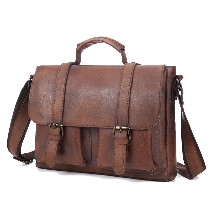Men's Vintage Small Genuine Leather Handbag Crossbody Shoulder Bag Business Briefcase Portfolio iPad Bag LS8827 rotosound rs66lc bass strings stainless steel