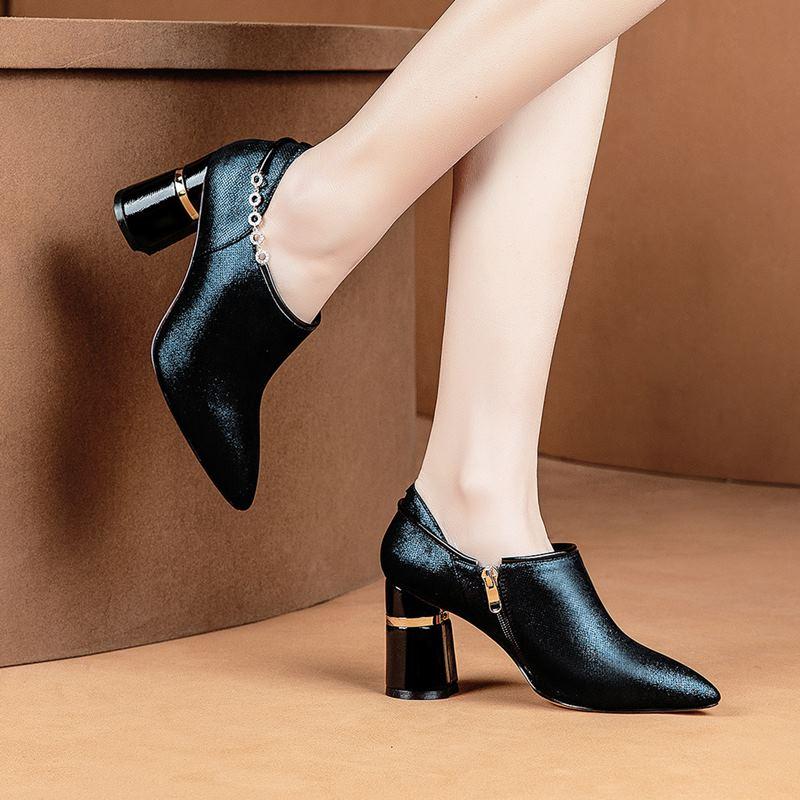 Grueso Moda Puntiagudo Alta Genuino Yinkoget Tacón Mujer Dedo Alto Picture Diamante Imitación Cuero Tacones De As Zapatos Calidad Pie Del wnzRP