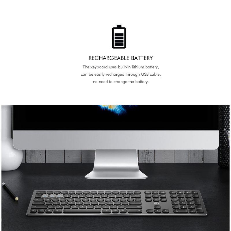 Ultra thin 4 0 Bluetooth 2 4Ghz Wireless Keyboard Aluminum Metal Body Long Lasting Working with Comfortable Round Keys in Keyboards from Computer Office