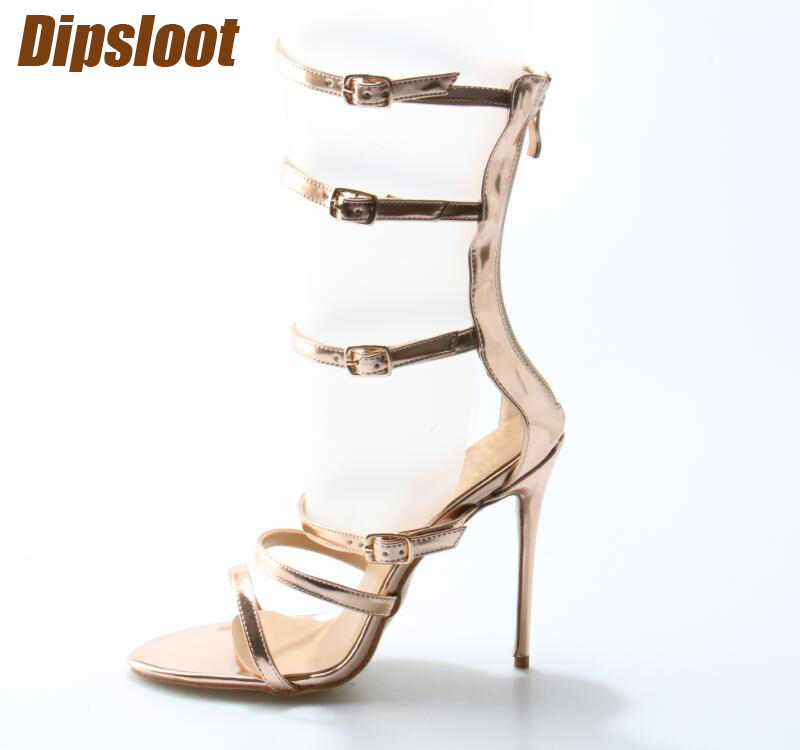 New Fashion Rose Gold Leather Buckles Women Sexy Sandal Cutout Style Ladies High Heels Zipper Back Female Stiletto Heels Size 42 fashion summer apricot sandals charming multi buckles design woman high heels ankle buckles cover heel back zipper free ship