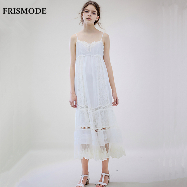 b99809a4b0f FRISMODE Fairy Cute Embroidery Lace Long Dress Women 2018 New Fashion  Spaghetti Strap Loose Young Ladies
