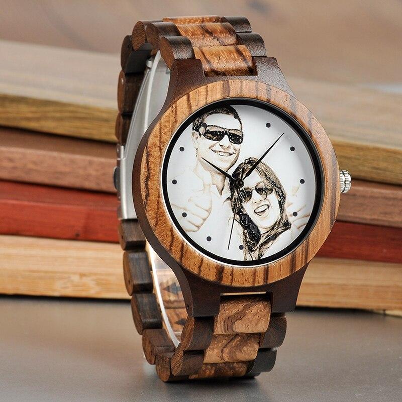BOBO BIRD Personal Photo Print Customized Wood Watch with Gift Box 15