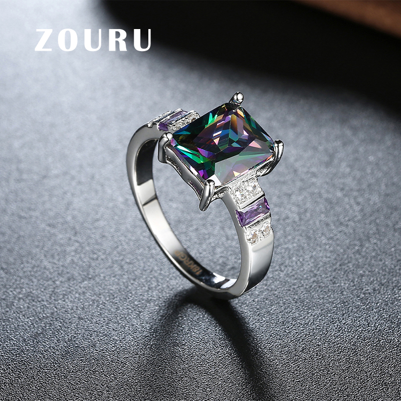 ZOURU Brand New Trendy Ring Hot Gold Plating Square Shape Colorful ...