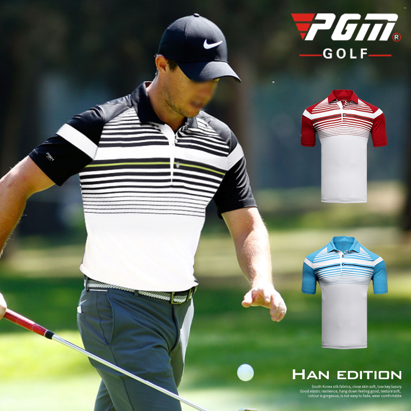 PGM new mens golf clothing striped button collar short-sleeved T-shirt summer breathable and quick-drying sportswear