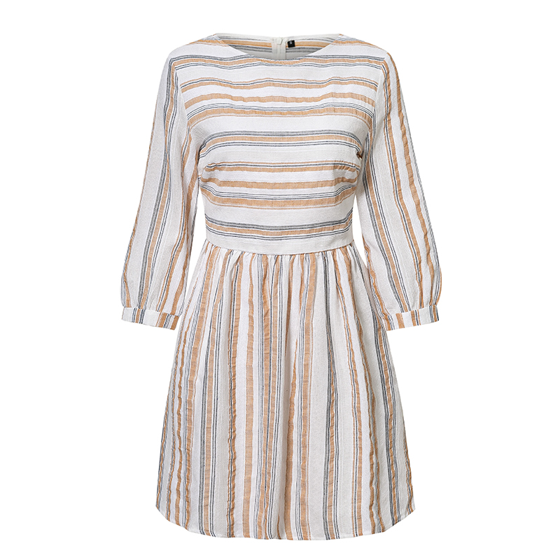 Elagant Striped O-Neck Beach Mini Dress 14