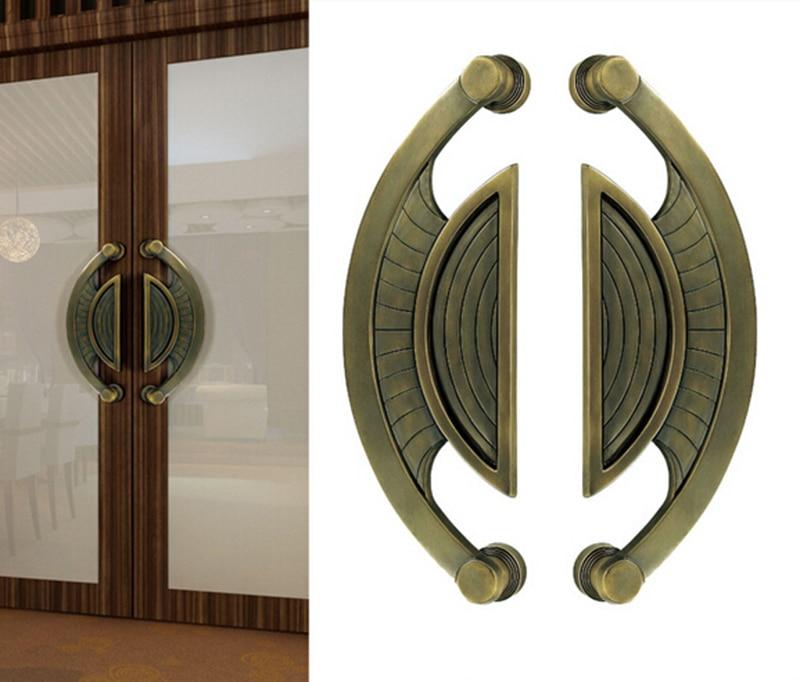 Cuivre antimicrobien Cu + poignée de porte 416mm poignées d'entrée en laiton massif pour portes en bois/métal/verre HM84
