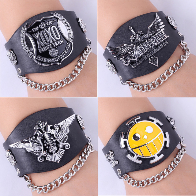 Leather Punk Bracelet Attack On Titan Black Butler Fantasy Exo One Piece Luffy Naruto Charm Bracelet jewelry