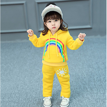 2018 Spring Autumn Baby Girls Clothes Set Cartoon Casual Sport Hoodied Suit Children Rainbow Cardigan Sweaters Pant Set 2-4T