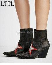 2016 Gladiator Retro style women short boots pointed toe Star pattern zip women s shoes handmade