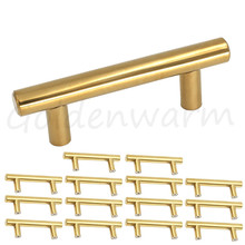 gold cabinet handles polished brass hole center 212 inch t bar kitchen hardware door knob drawer pulls stainless steel 15 pcs