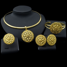Free Delivery Yulaili New Coming Pure Gold Color Zinc Alloy Fashion Round Ethiopia Jewelry Sets For Ladies