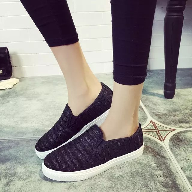 32ab9d88449 Newest Ladies Canvas Loafers Shoes Woman Autumn Style Fashion Slip On Flats  Mixed Colors Striped Femme Casual Korean Shoe