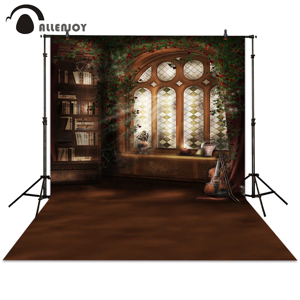 Allenjoy photography backdrop window bookshelf retro backdrop background for photo studio indoor photocall photo booth