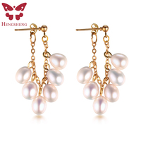 HENGSHENG 100 Real Natural Pearl Dangle Earrings For Women Gold Earring With 12pc Pearl Fine Jewelry