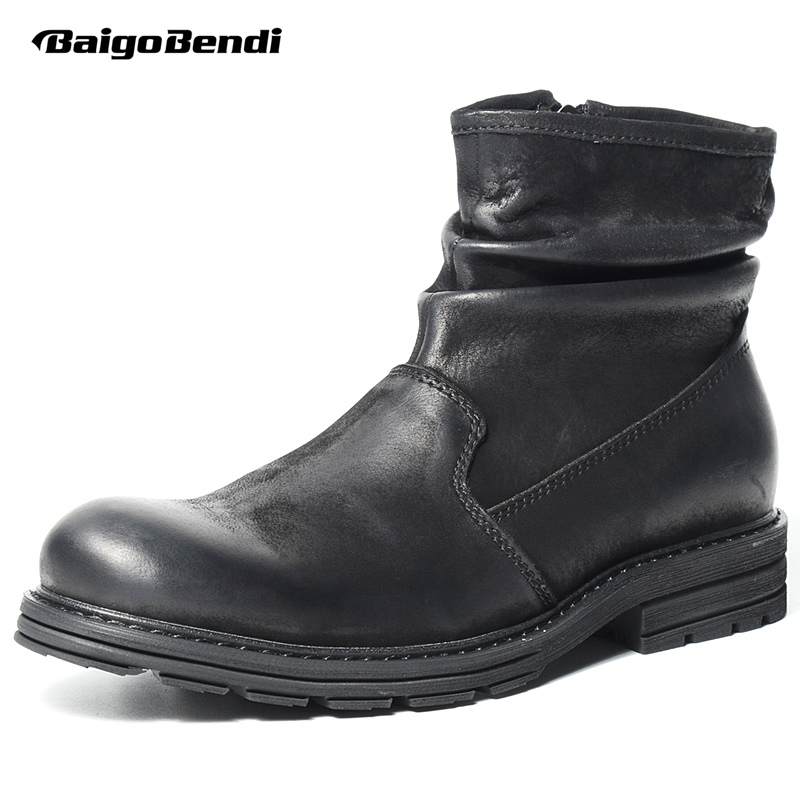 HOT!! Mens Boots Genuine Leather Wrinkle Chelsea Boots Zip Martin Boots Mid-calf Black Riding Boots Man Winter Shoes 1 600x g600 portable lcd digital microscope with 4 3 inches hd oled display