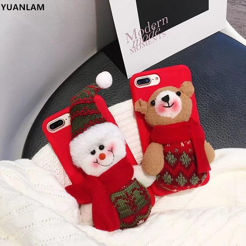 Роскошные 3D Рождество снеговик Медведь сотовый телефон силиконовый Чехол для iPhone 6 6 S 7 8 плюс ТПУ Защита чехлы