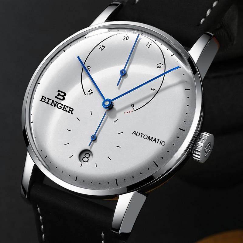 Marca de Luxo Suíça Binger Relógios Masculinos Automático Relógio Mecânico Masculino Safira Japão Movimento Reloj Hombre B1187-0