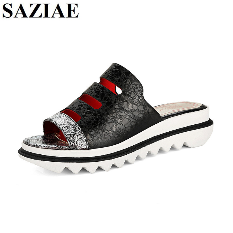 [SAZIAE]Women Wedges Slippers Sandals Summer Brand Casual Shoes Woman Platform Slipper Shoes For Ladies Slides Women Shoes 34-43 women sandals 2017 summer shoes woman wedges fashion gladiator platform female slides ladies casual shoes flat comfortable