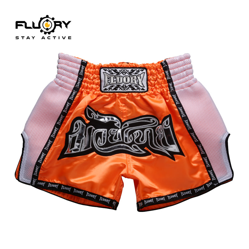Fluory orange design muay thai shorts embroidery patch kicking shorts green j looking for alaska