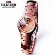 Marca Binger Cuarzo Café Banda de Moda Reloj de Acero de Tungsteno de Oro Elegante Reloj Analógico Horas Reloj De Diseño de Buena Calidad