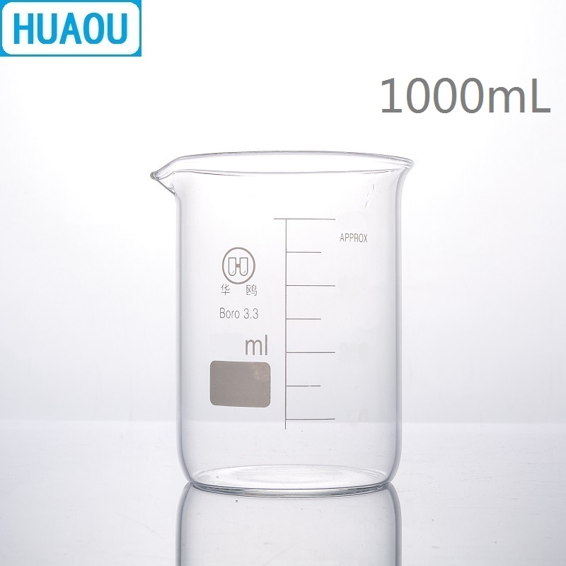HUAOU 1000mL Glass Beaker Low Form Borosilicate 3.3 Glass With Graduation And Spout Measuring Cup Laboratory Chemistry Equipment
