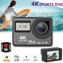 4K Touch Screen WiFi Sports Action Camera LCD Dual Screen 1080P Waterproof Sports DV Bike Helmet Camera Mini DVR Remote Control цена 2017