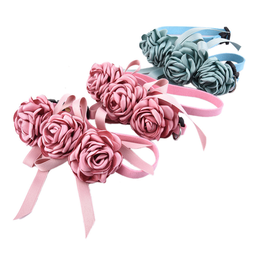 Popular flower dog collar buy cheap flower dog collar lots from cute pet wedding flower collars cat dog necklace pendant jewelry luxury princess dog collars puppy necklace dhlflorist Choice Image