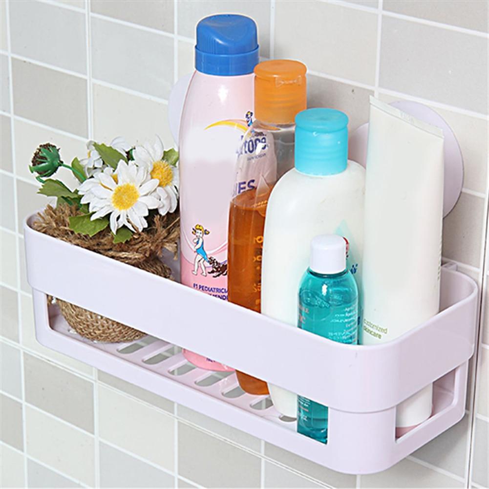 1PC Storage Rack Suction Cup Bathroom Kitchen Corner Storage Rack Organizer Wall Shower Shelf Bathroom Organizer Shelves