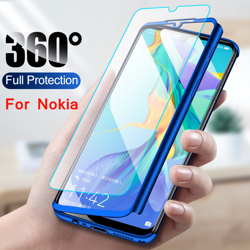 Luxury 360 Degrees Full Shockproof Cover For <font><b>Nokia</b></font> <font><b>6.1</b></font> <font><b>Case</b></font> Shell Hard PC Cover <font><b>Cases</b></font> For <font><b>Nokia</b></font> 3.1 Fundas Capa Tempered <font><b>Glass</b></font> image