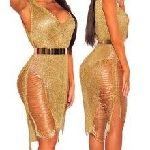 b734df2a984233b S-XL Цвета Для женщин супер секси v-образным вырезом без рукавов ночной  клуб выдалбливают платье на бретелях с точки зрения сетк.