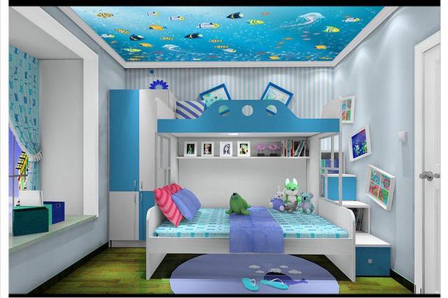 Kinderkamer Kinderkamer Wanddecoratie : Aangepaste 3d wallpaper 3d plafond behang zeevissen vector