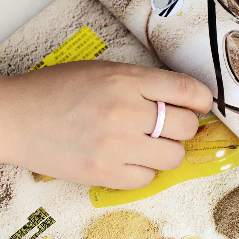 New 4mm Light Pink Black White Beautiful Hand Cut Ceramic Ring For Woman Top Quality Jewelry Without Scratches Woman Ring 4
