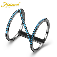 Ajojewel Women Romantic Ring Original Design Double Layer Z Letter Finger Ring With Blue Stone Natural