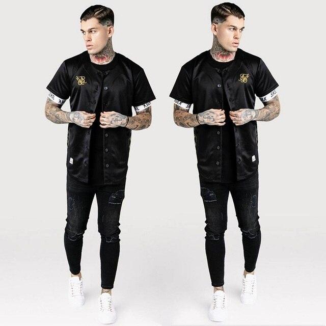 ספרד סיק משי משי בייסבול Jerse T חולצה גברים קיץ Streetwear גבר חולצות T היפ הופ טי Camisetas Hombre Siksilk חולצה גברים