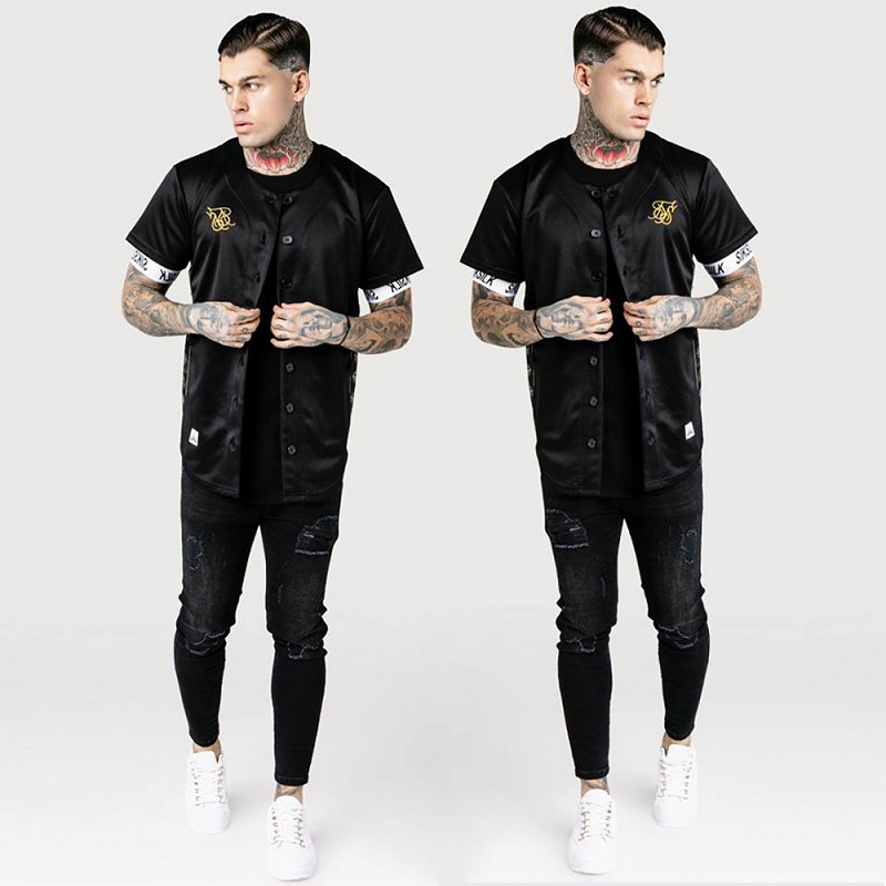 Spain Sik Silk Silk Baseball Jerse T Shirt Men Summer Streetwear Man T Shirts Hip Hop Tee Camisetas Hombre Siksilk T-shirt Men