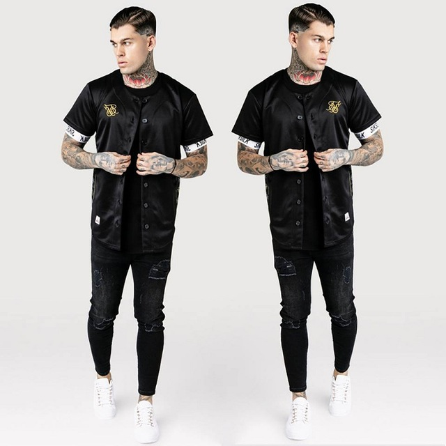 İspanya Sik ipek ipek beyzbol forması T gömlek erkekler yaz Streetwear erkek T Shirt Hip Hop Tee Camisetas Hombre Siksilk t shirt erkekler