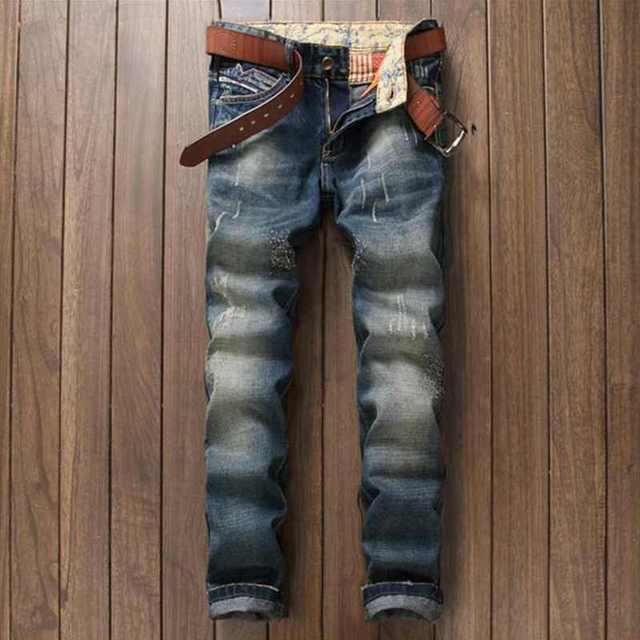 df670af498aacf Italien Fashion Designer herren Distressed Biker Jeans Luxus-marke  Denim-hosen Gerade Blau Schlank