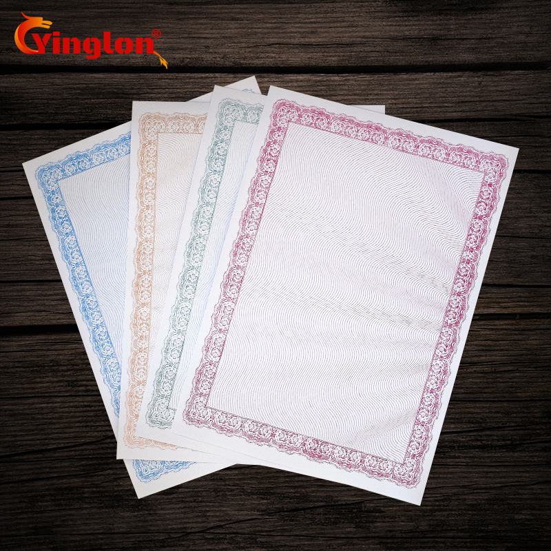 25 pcs/lot certificate paper 180g thicken A4 paper printable copy DIY typesetting retro printable paper have shading and fram