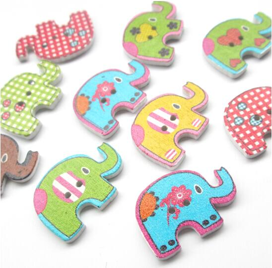 suoja 30*20mm 50pcs Mixed Color Elephants Wooden Buttons For Handmade Craft Fit Sewing And Scrapbooking Accessories 2 Holes|Buttons| - AliExpress