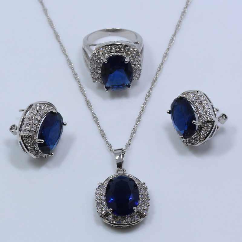 למעלה איכות זירקון הכחול 925 סטים לנשים טבעת שרשרת תליון עגיל תכשיטי כסף קופסא מתנה חינם T205